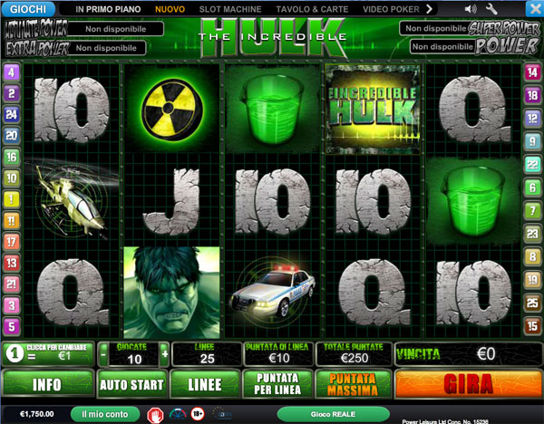 slot machine gratis lincredibile hulk